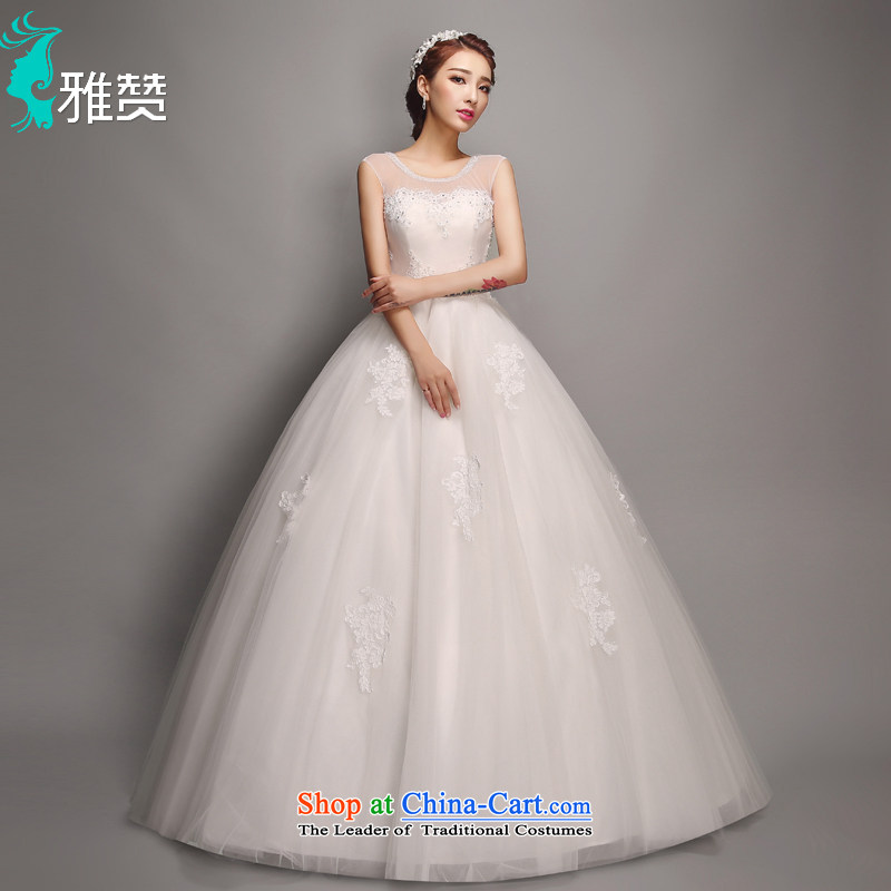Jacob Chan shoulders to align the wedding dress the summer and fall of 2015, the new version of the graphics thin nail-ju won round-neck collar fluoroscopy Tulle lace straps princess bon bon skirt White?XXL