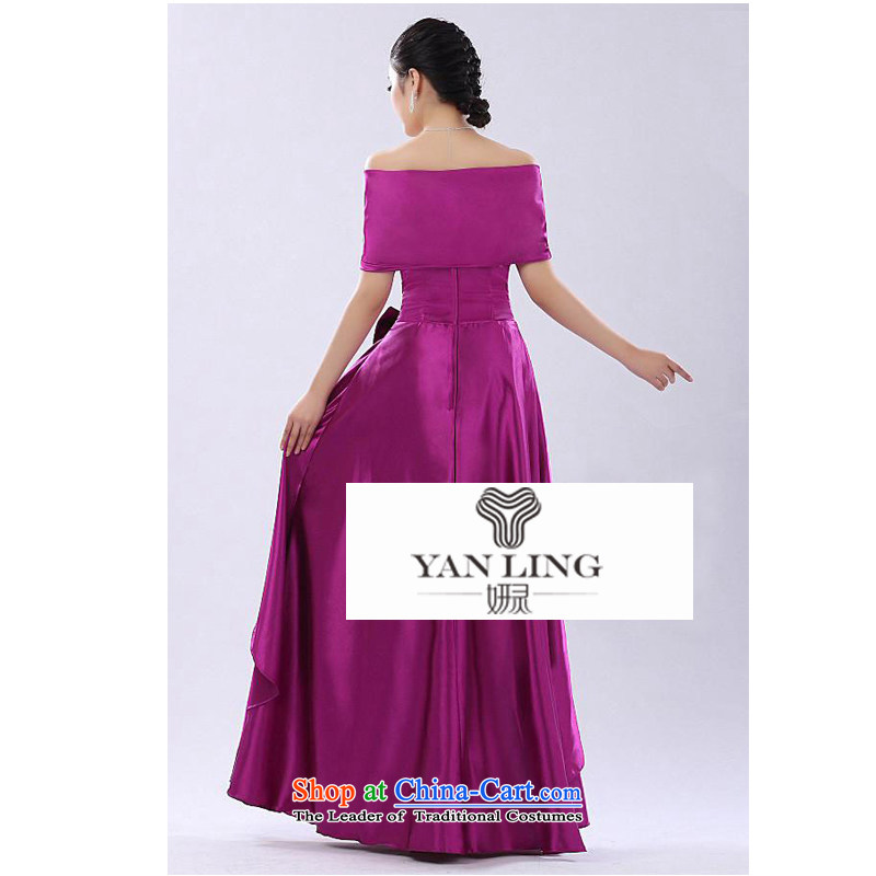 2015 Autumn long gown bridal dresses shoulder Package Service Bridal evening performances chorus girl dress purple?XL