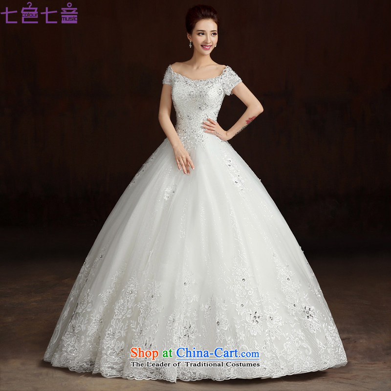 7 7 color tone?2015 Summer New Asian layout to align the shoulders of custom video word thin shoulders bride wedding dresses?H081?White?XL