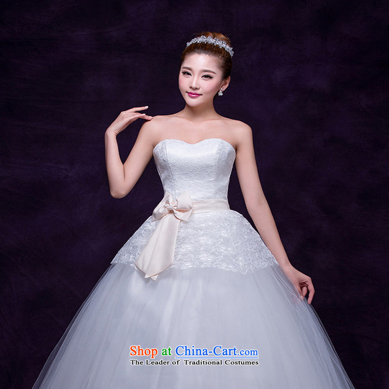 The autumn 2015 new Korean sweet bride wedding princess graphics to align the thin elegant wedding dresses floor White gauze White?M photo