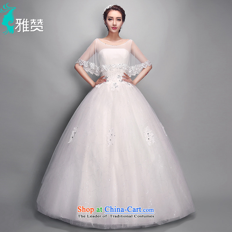 Jacob Chan bride wedding new summer and fall of 2015 fluoroscopy round-neck collar slotted shoulder for drilling water shawl lace graphics to align the Korean version of the thin bon bon skirt White?XL
