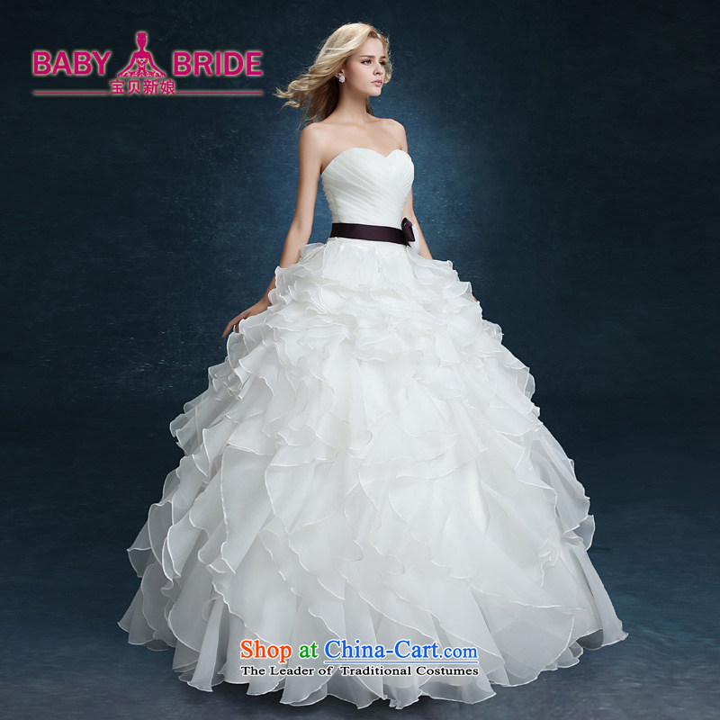 2015 new wiping the chest to bon bon yarn bride wedding dresses married Korean style spring and summer female thin large video   White XXL