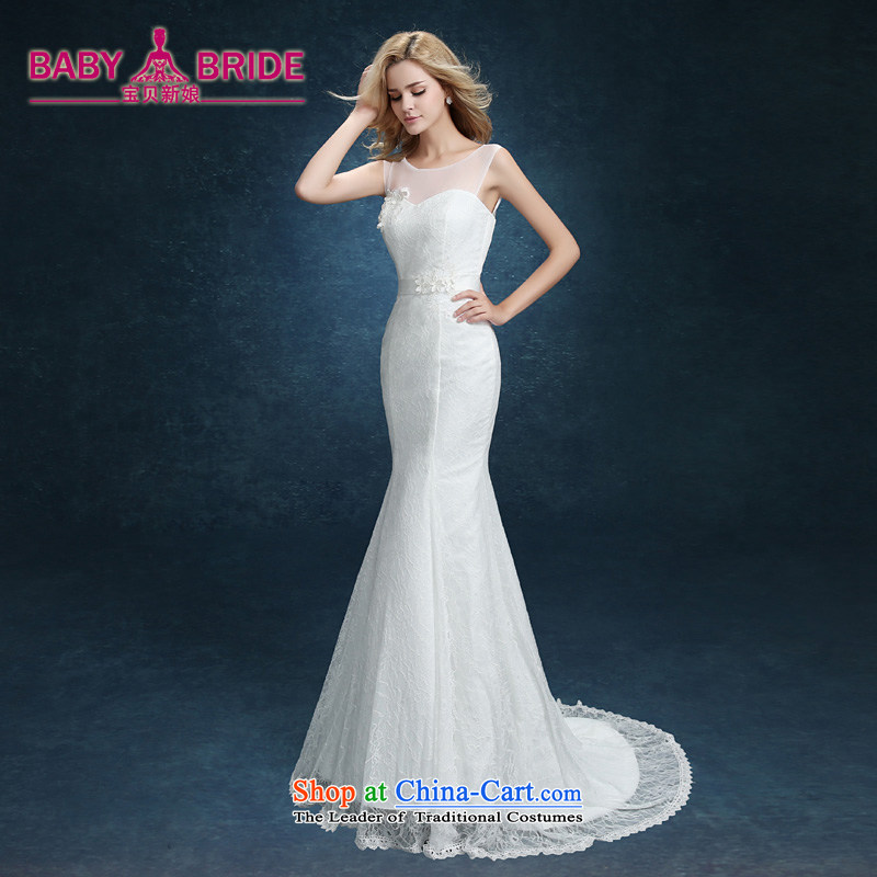 The bride wedding dresses new summer 2015 Sau San Korean Word Graphics thin marriage shoulder crowsfoot wedding tail shoulders White?M