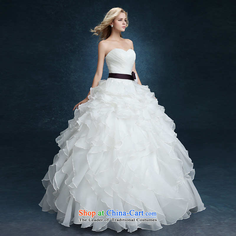 2015 new wiping the chest to bon bon yarn bride wedding dresses married Korean style spring and summer female thin large video   white XXL, to tone (dayinni ni) , , , shopping on the Internet