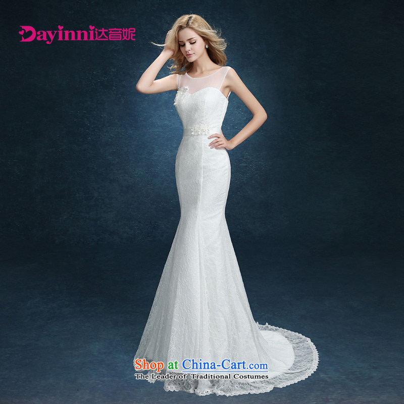 The bride wedding dresses new summer 2015 Sau San Korean Word Graphics thin marriage shoulder crowsfoot wedding tail shoulders white?L