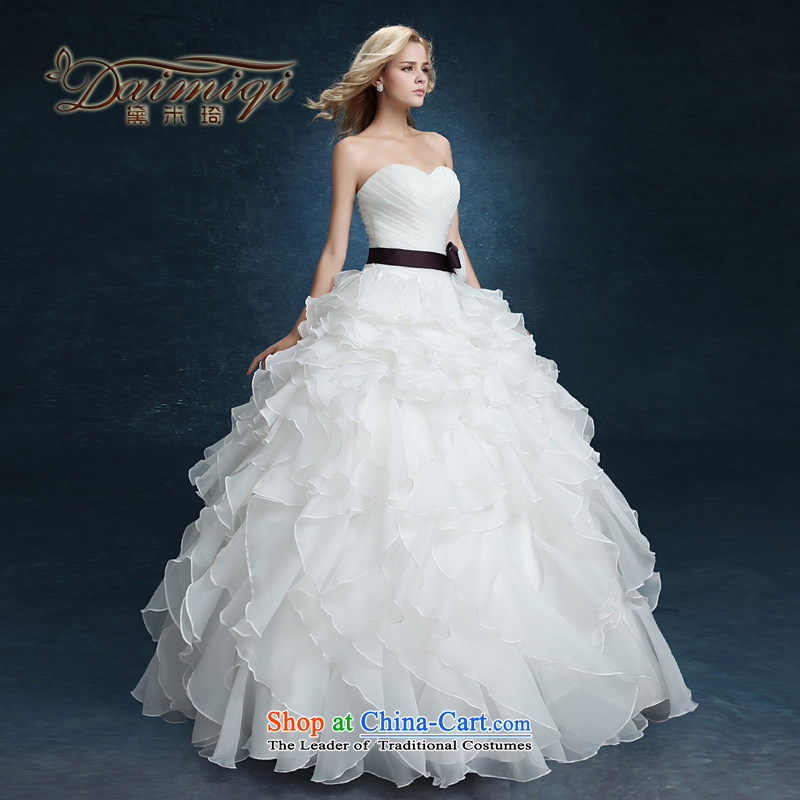 2015 new wiping the chest to bon bon yarn bride wedding dresses married Korean style spring and summer female thin large video   White聽M