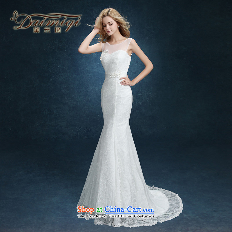 The bride wedding dresses new summer 2015 Sau San Korean Word Graphics thin marriage shoulder crowsfoot wedding tail shoulders White XXL