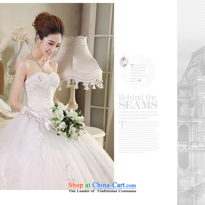 Charlene Choi Spirit _yanling_ wedding dresses white 2015 Autumn new products luxury lace wiping the chest to wedding White?XL