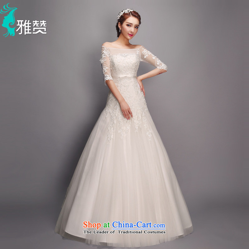 Jacob Chan crowsfoot wedding to align the shoulder of the Word 2015 summer, autumn and winter new bride in the strap sleeve long-sleeved upscale lace marriage wedding dress White?M