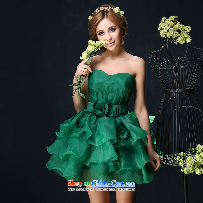 Summer 2015 new anointed chest) Princess Korean short banquet dinner dress bride bows services will stage a small green tailored