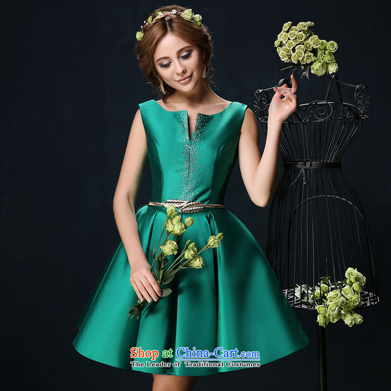 Toasting champagne bride services 2015 Spring/Summer New 2 large shoulder graphics thin banquet, wedding dress short skirt green�S