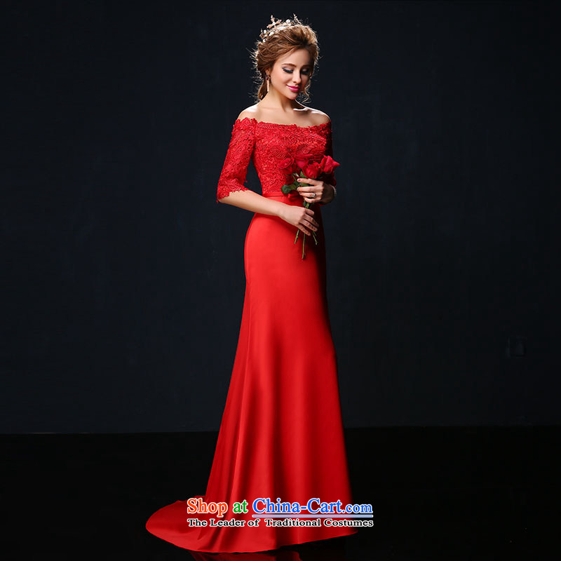 In spring and summer 2015, a new field in the shoulder cuff red long banquet evening dresses video thin marriages bows services tailored red