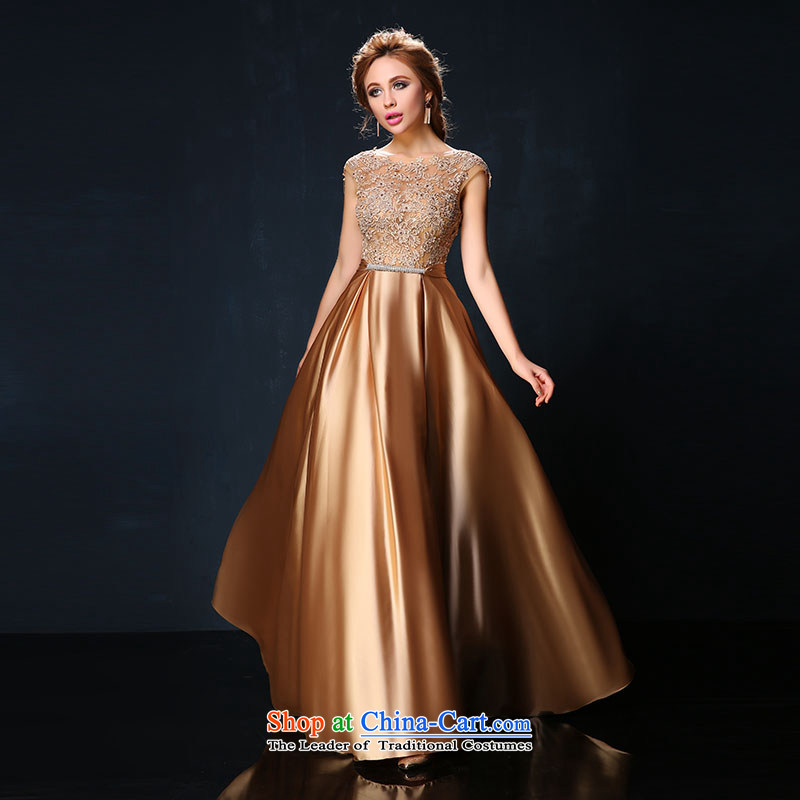 The bride services 2015 Summer Korea bows new version lace shoulder larger video thin red long banquet evening dresses tailored Gold