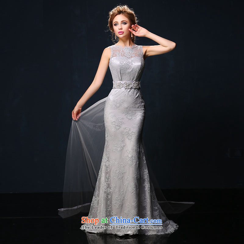 The bride crowsfoot bows services 2015 Summer new Korean shoulders long red lace banquet dinner dress gray Sau San?L