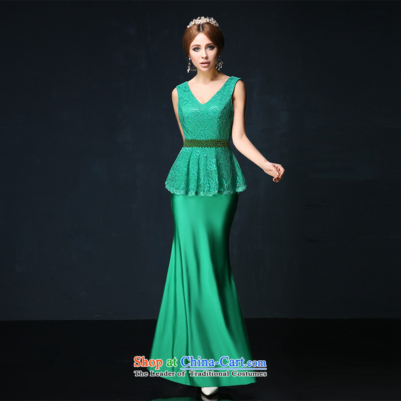 Toasting champagne bride services 2015 Spring_Summer new shoulders V-Neck Sau San evening dresses long crowsfoot stage performance services custom green