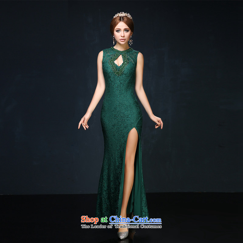 The spring and summer of 2015, the new 2 shoulder length, banquet evening dresses Sau San crowsfoot video thin bows services marriages evening green?M