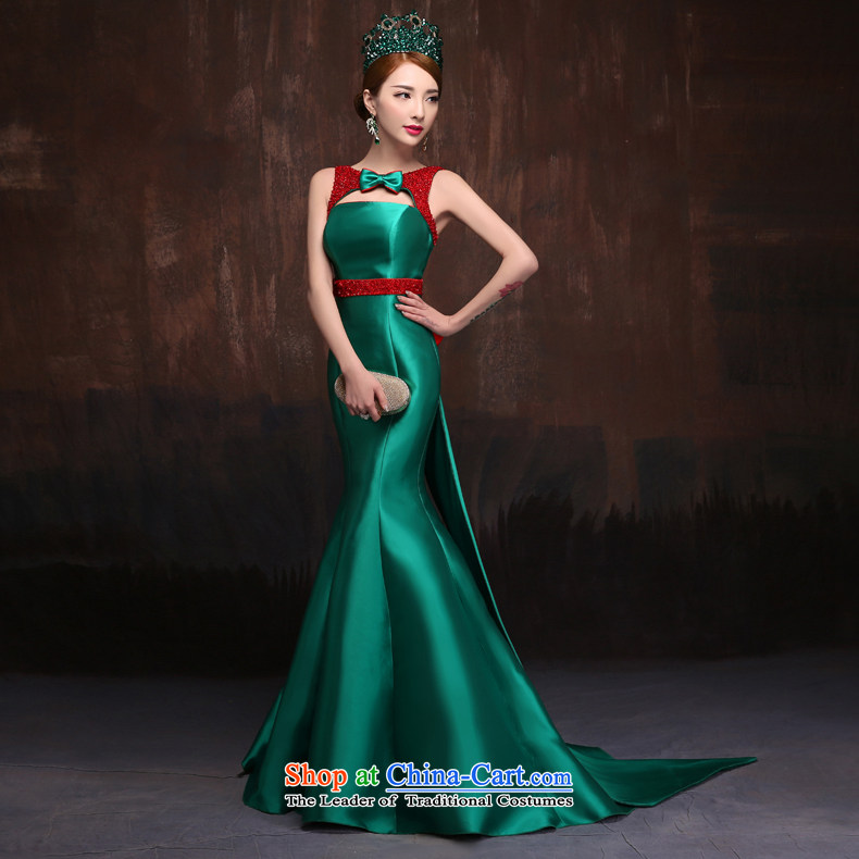 Sin Sin Kai Edge 2015 new wedding dresses long crowsfoot green stage performances tail retro evening dress skirt green tailored for not returning the not-for-