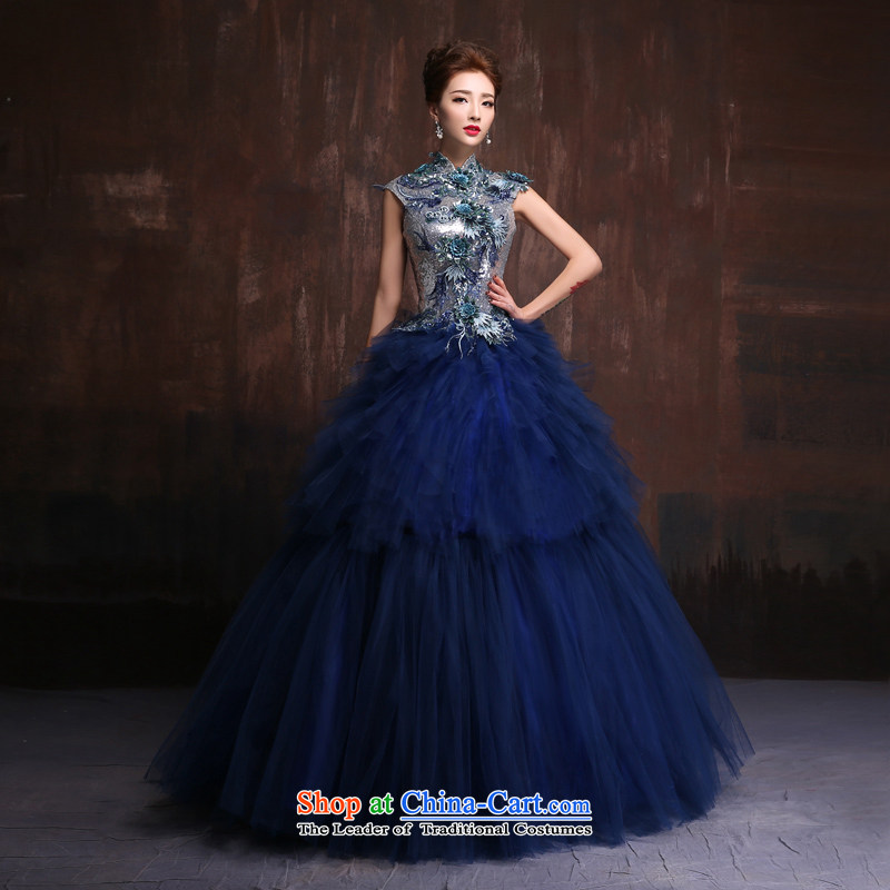 The spring and summer of 2015, the Korean version of the new wedding dresses long evening dresses stage performances under the auspices of the bride dress uniform color photo of bows long made Size