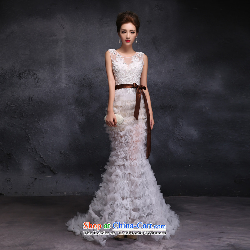 Sin Sin Kai edge wedding dresses new engraving long white gown, stylish stage costumes crowsfoot white?S romantic irrepressible