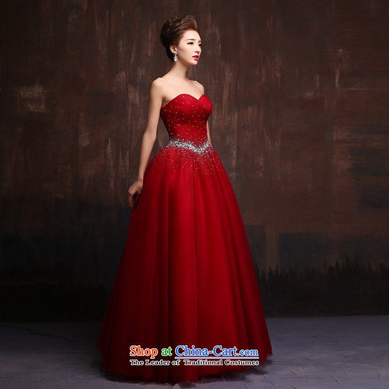 Wedding dress 2015 new anointed chest long banquet of diamond ornaments blue dress bride will serve the spring bows wine red?M
