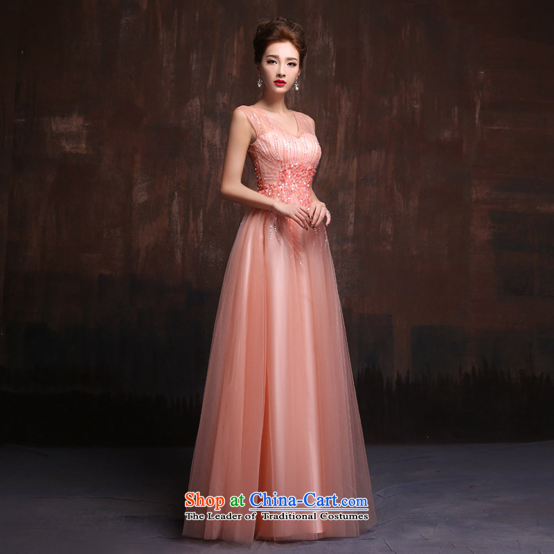 2015 Spring Summer trendy new_ wedding dresses long pink bride services annual evening drink dresses bare pink for size