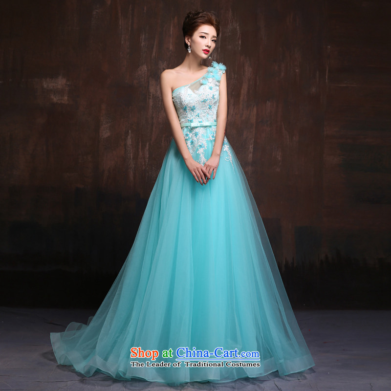 Sin Sin Kai Edge 2015 new stylish wedding dress shoulder sweet long tail marriages evening dress skirt ice blue?L Quality Assurance