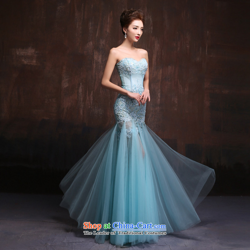 2015 Spring_summer evening dress the new Korean lace anointed chest marriages crowsfoot bows service banquet long dresses made ice blue Size