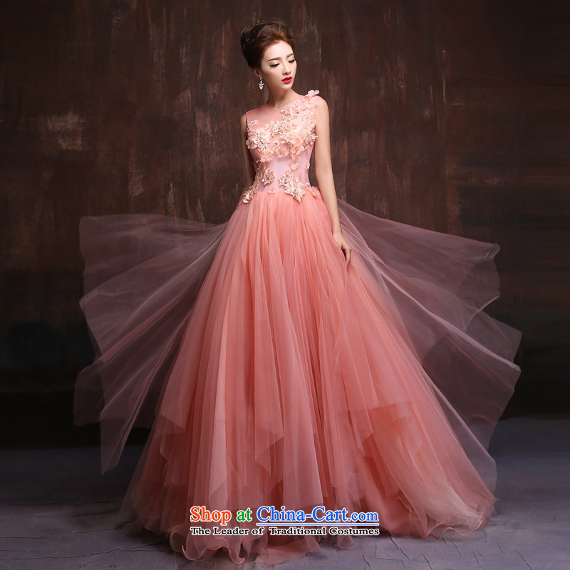 Wedding dress 2015 new Korean brides large wedding photography subject stage long banquet evening dress spring bare pink for size