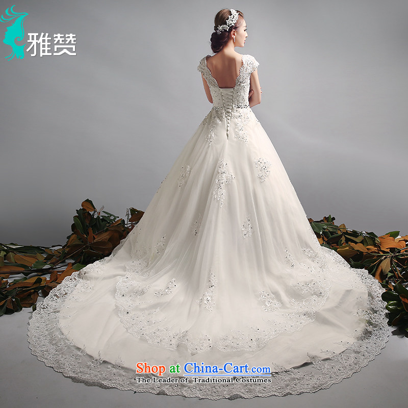 Jacob Chan large tail wedding shoulders of autumn and winter 2015 new marriages video thin wedding dresses large retro bon bon skirt tail_?L