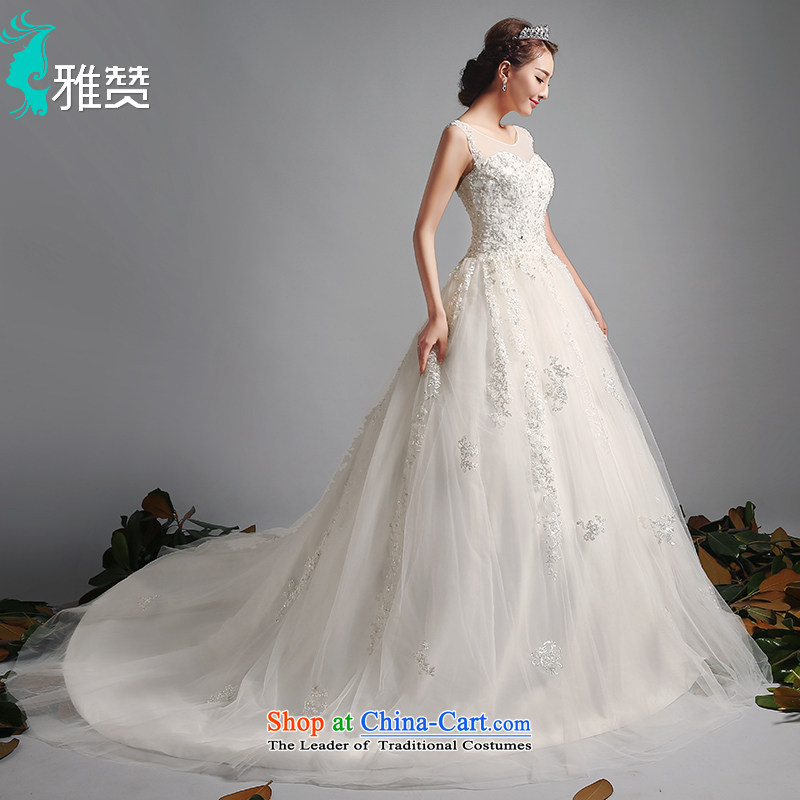 Jacob Chan 2015 Korean wedding dress tail shoulders minimalist in summer and autumn new lace marriage wedding band bon bon skirt tail_?L