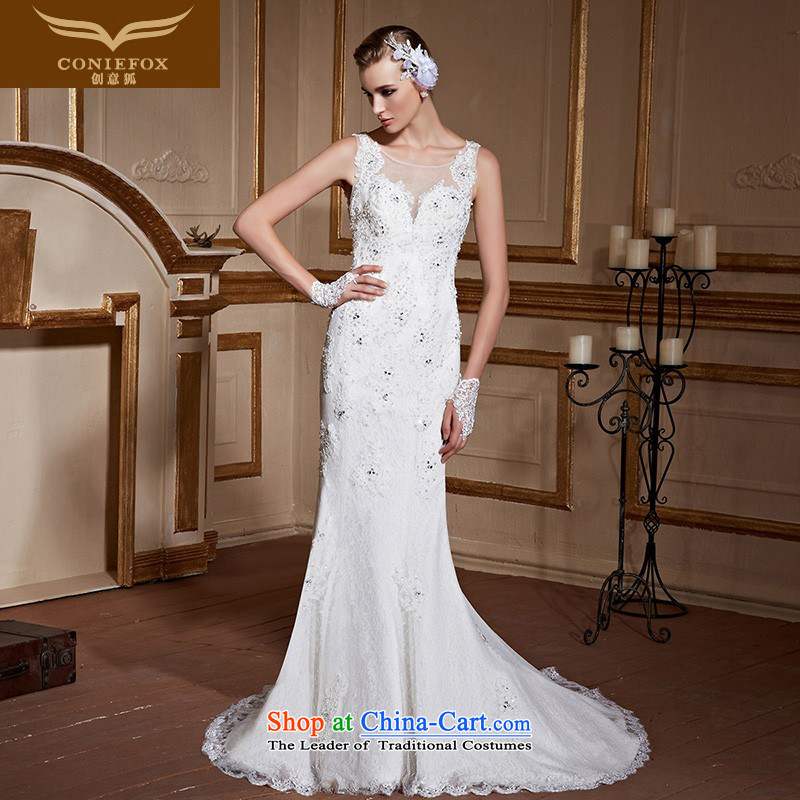 Creative?New 2015 FOX white wedding dresses crowsfoot tail wedding lace shoulders wedding back wedding tailored wedding 99036 tailored White