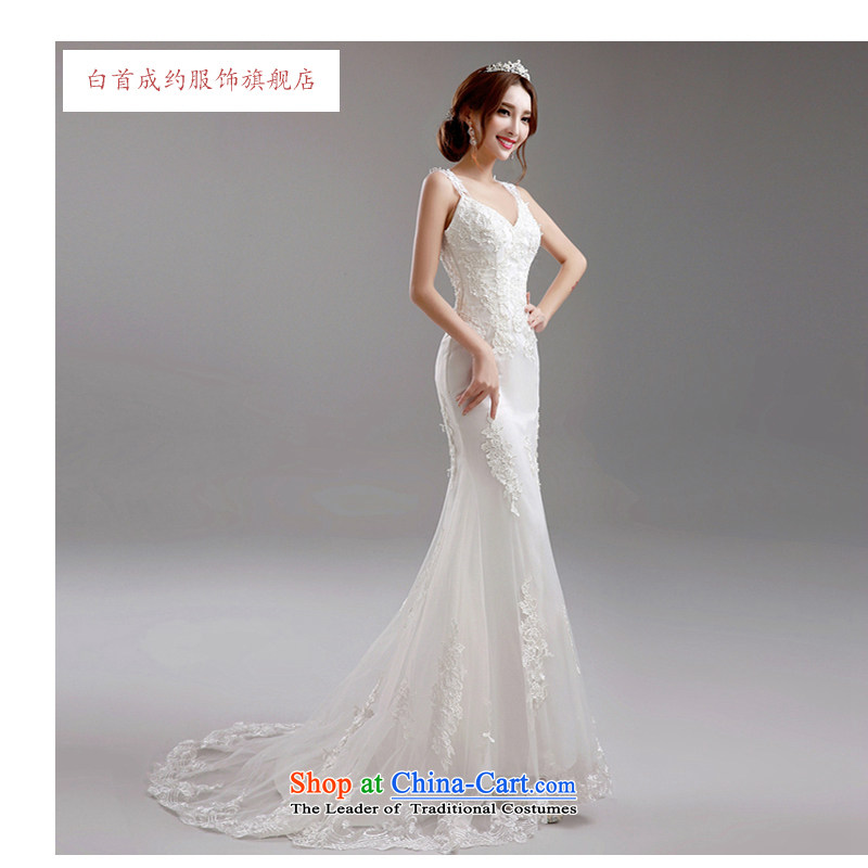 The first white lace deep into about v-neck Korean Princess Bride crowsfoot tail Sau San wedding dresses autumn 2015_ Wedding white?S