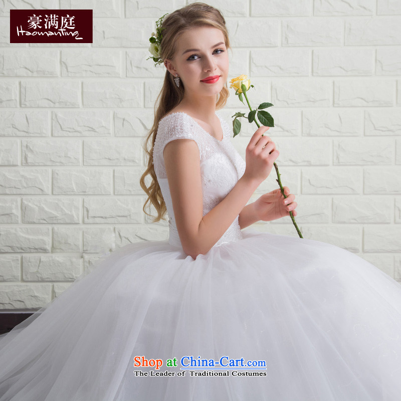 Ho full Chamber bride wedding dresses 2015 new summer shoulders to align the wedding stylish and simple large white marriage Sau San?XL
