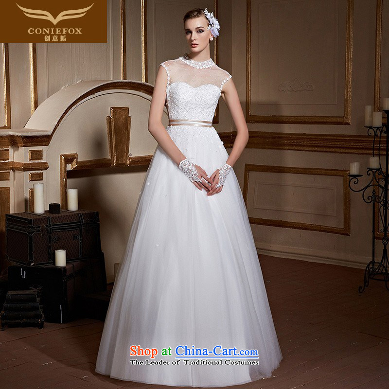 Creative and stylish high-collar and Fox chest wedding dresses to align the white marriages wedding pregnant women large wedding video thin straps wedding 99038 tailored White