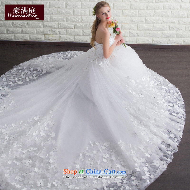 Summer 2015 new bride wedding dresses long tail and Chest Flower large Sau San Deluxe Big tail custom white?S