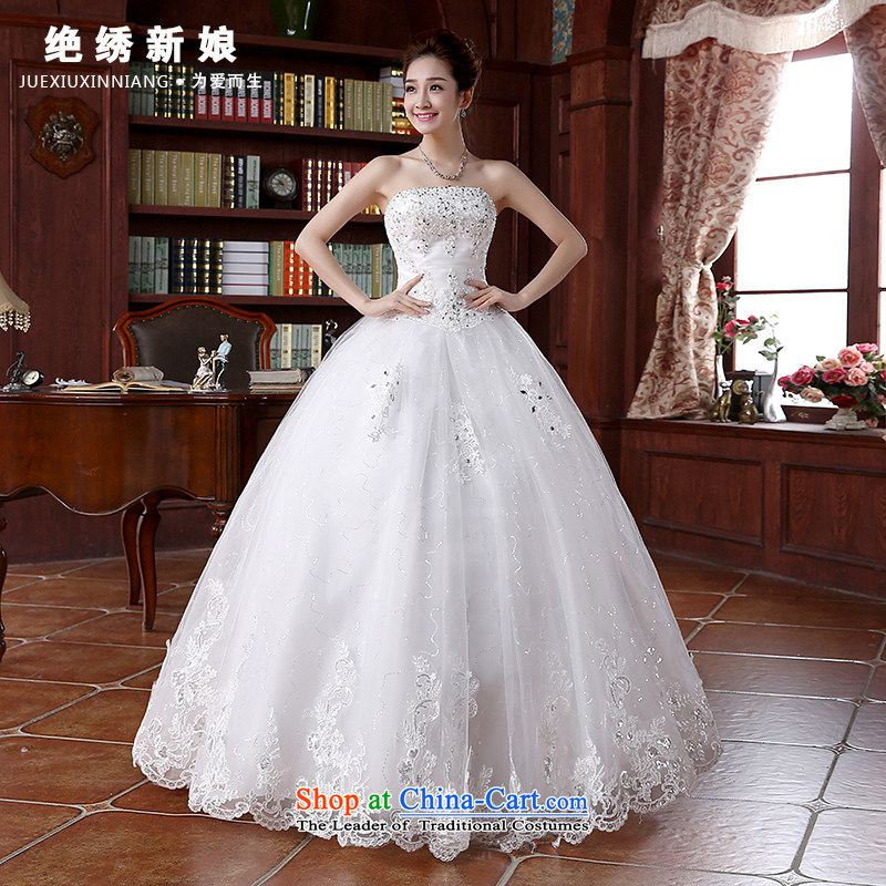 2015 Spring_Summer new Korean wiping the chest code graphics thin marriages straps wedding dresses to align the white?XXXL 2 ft 4 waist Suzhou Shipment