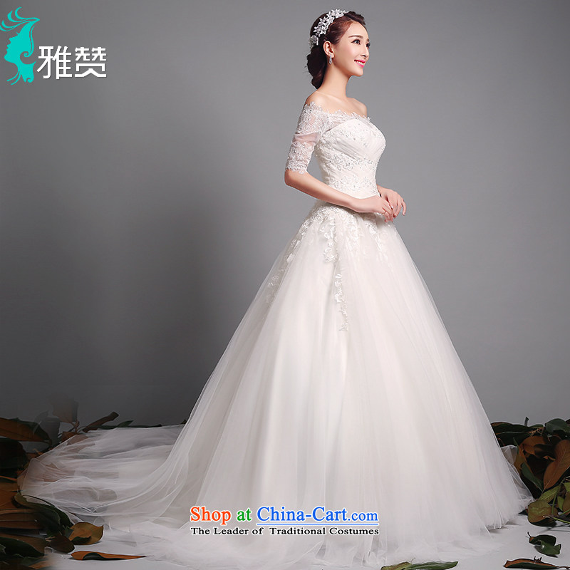 Jacob Chan-il field shoulder wedding tail align to marriages summer, autumn and winter 2015 new Korean eyelashes lace in cuff wedding white bon bon skirt tail) 30cm M