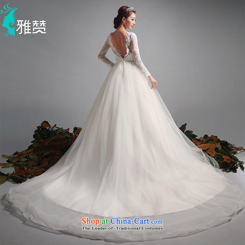 Jacob Chan bride first field package shoulder major tail to align the wedding dresses of autumn and winter 2015 new long-sleeved Foutune of heart-shaped back butterfly marriage and tail of dress?S
