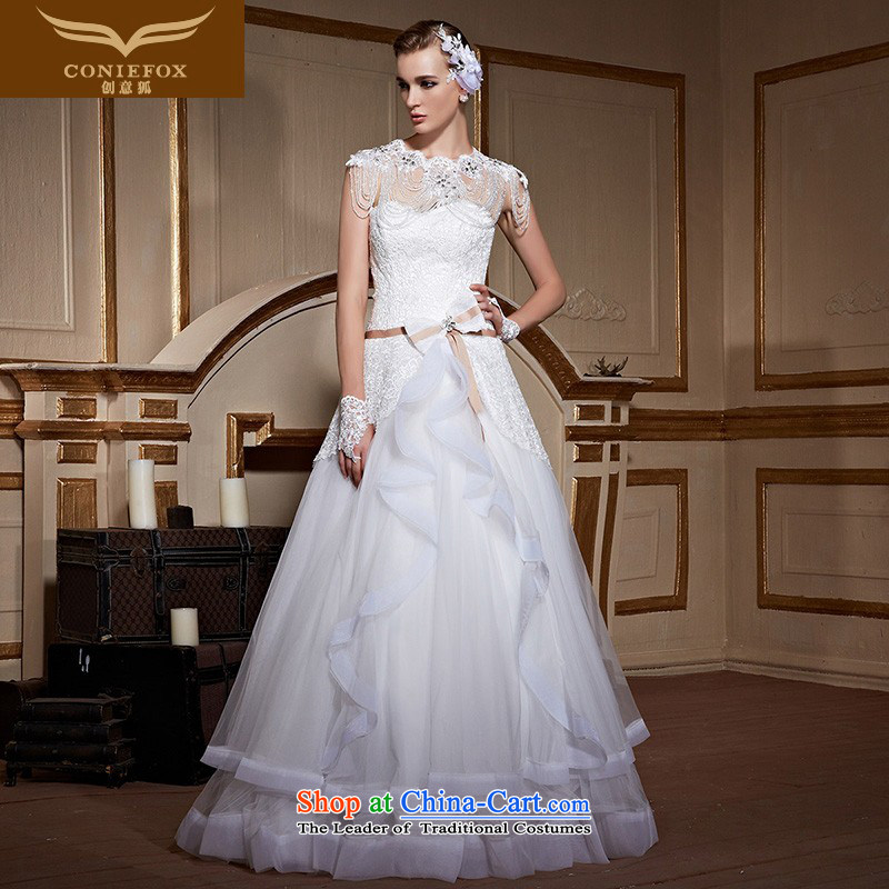 To align the creative fox wedding dresses聽2015 new custom bride anointed chest wedding minimalist princess bon bon skirt bow tie lace wedding 99039 tailored White