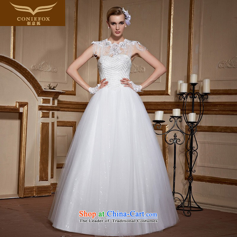 Wipe the white fox chest creative diamond wedding dress bride to align the wedding stylish and simple marriage wedding Sau San tie tailored wedding 99050 tailored White
