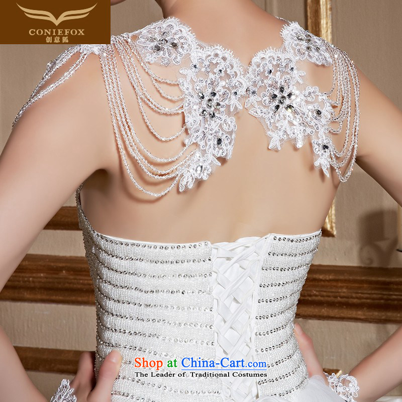 Wipe the white fox chest creative diamond wedding dress bride to align the wedding stylish and simple marriage wedding Sau San tie tailored wedding 99050 white tailored, creative Fox (coniefox) , , , shopping on the Internet