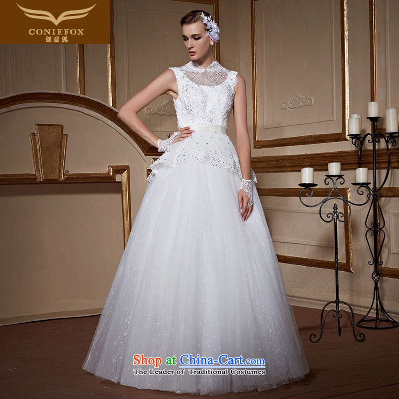 Creative Fox stylish shoulders hang also bride wedding dresses elegant lace diamond wedding to align the wedding code Sau San tailored wedding 99051 tailored White
