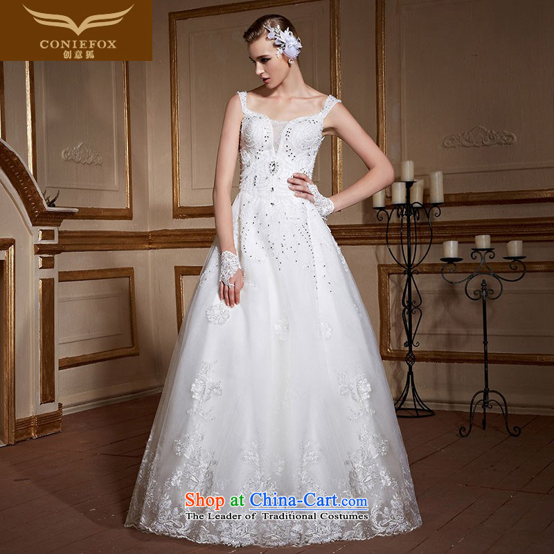 Creative Fox white shoulders wedding dresses 2015 new wedding to align the large custom pregnant women wedding elegant lace diamond princess skirt 99052 tailored White