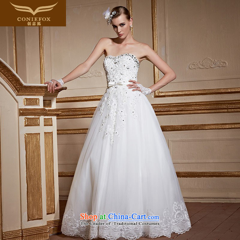 Creative Fox chest to bride wiping the wedding dress pregnant women married to large white wedding video thin lace princess straps wedding tailored 99055 tailored White