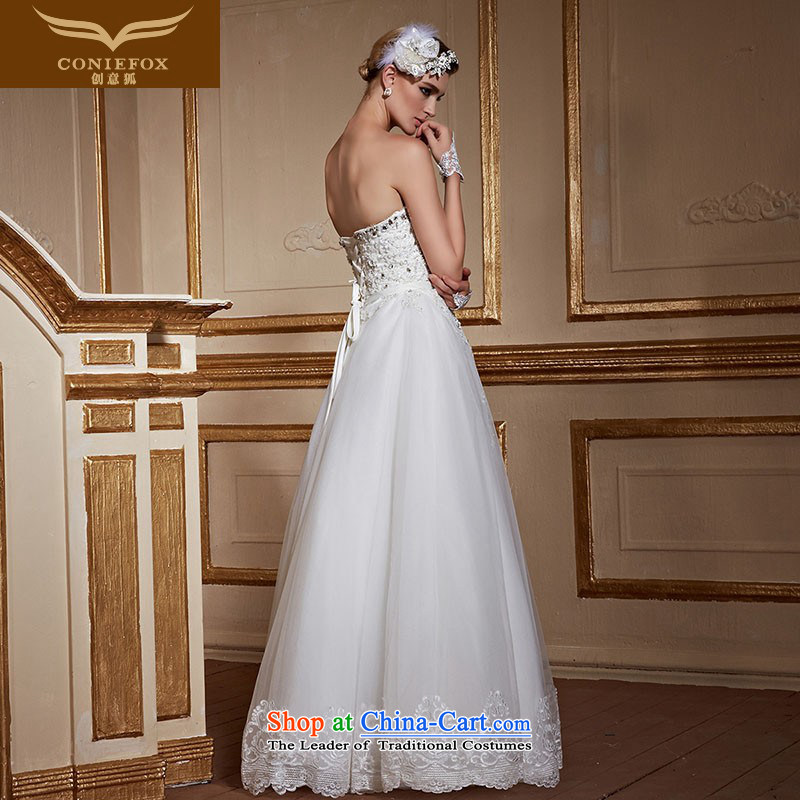 Creative Fox chest to bride wiping the wedding dress pregnant women married to large white wedding video thin lace princess straps wedding tailored 99055 white tailored, creative Fox (coniefox) , , , shopping on the Internet