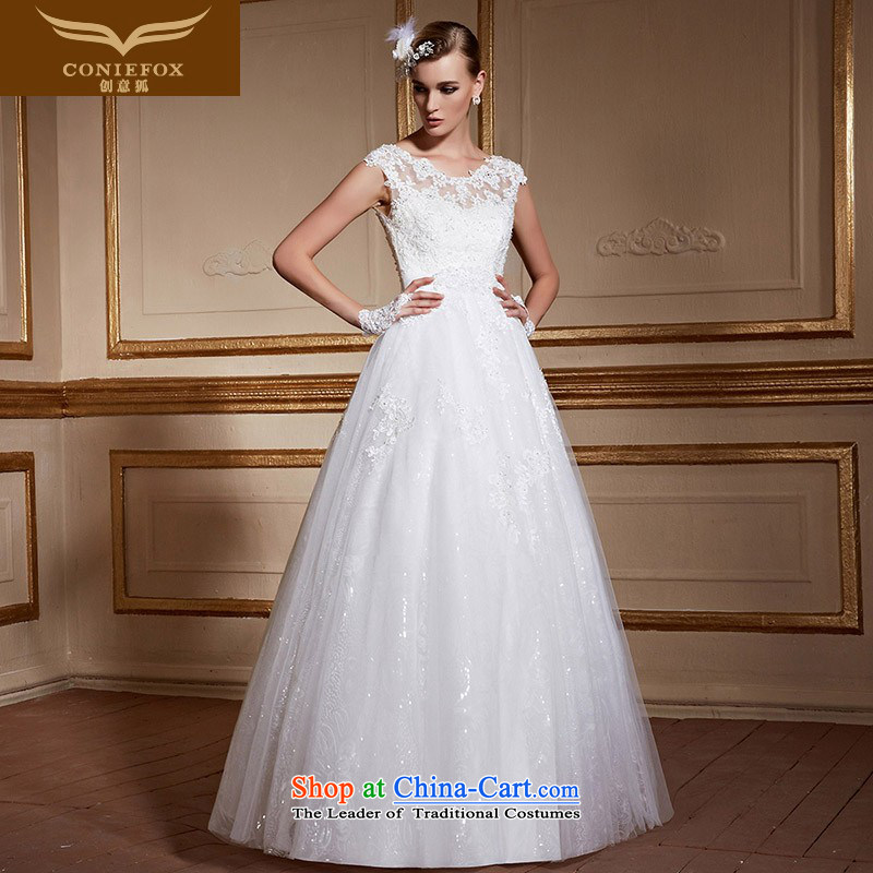 Creative Fox stylish shoulders back wedding dresses elegant lace alignment to marriages wedding white minimalist tailored wedding聽99056聽tailored White