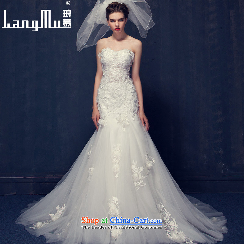 The 2015 summer Luang new Korean lace flowers word shoulder and Sau San chest crowsfoot wedding small trailing white Advanced Customization Custom