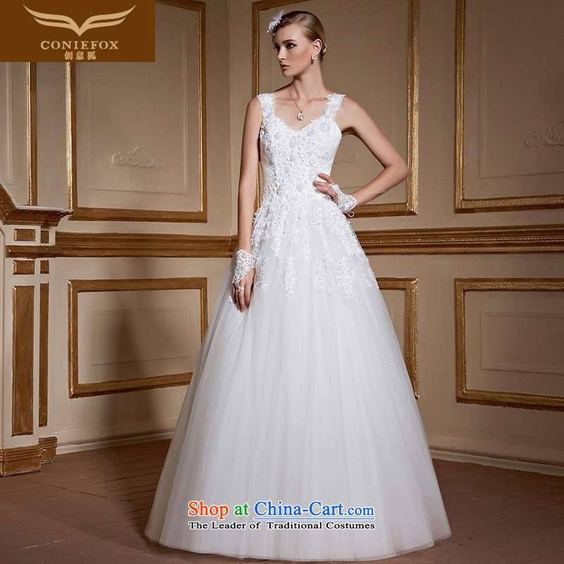 Creative minimalist white fox video thin shoulders bride wedding dresses and stylish long Sau San tie lace align to wedding tailored wedding 99059 tailored White