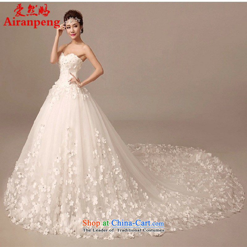2015 Summer new bride wedding dresses long tail wiping the chest to align the large Sau San flowers large tail custom white 100CM drag聽M package returning