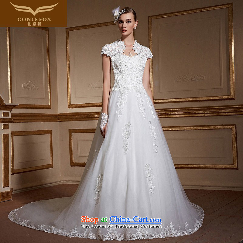 Creative?New autumn 2015 FOX stylish lace shoulders tail wedding dress tailoring Sau San larger marriages wedding 99060 tailored White